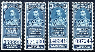 Revenue stamps of Canada - A set of Canadian electricity and gas inspection stamps from 1930