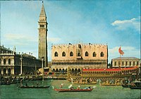 Canaletto (Giovanni Antonio Canal), Italian (active Venice, Rome, and England) - The Bucintoro at the Molo on Ascension Day - Google Art Project.jpg