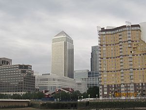 Rotherhithe crossing - The proposed bridge would provide a link between Rotherhithe on the south side of the Thames, and Canary Wharf shown here on the north side.