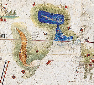 Afonso de Albuquerque - Map of the Arabian Peninsula showing the Red Sea with Socotra island (red) and the Persian Gulf (blue) with the Strait of Hormuz (Cantino planisphere, 1502)