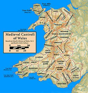 Buellt - Map of the Welsh cantrefs, showing the location of Buellt, in the middle