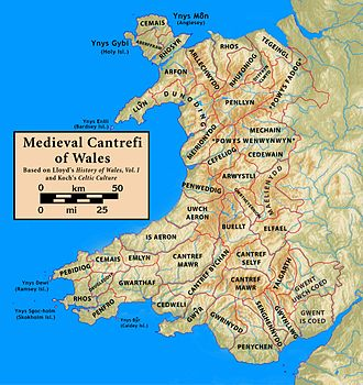 Hundred (county division) - Medieval Cantrefi of Wales