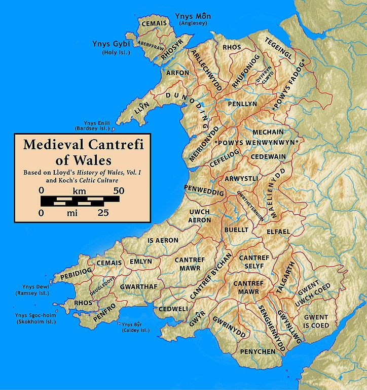 "This is a map of cantrefi (comparable to ""counties"") in medieval Wales. These contrefi were divided into many commotes, a term which is sometimes synonymous with ""villages"" or ""parishes."" These commotes played cnapan against each other. - Welsh Cnapan (Medieval Football)"
