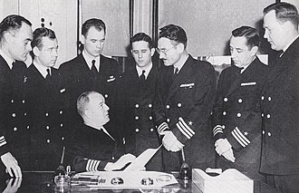 USS Dayton (CL-105) - Image: Captain Steinhagen and department heads of USS Dayton (CL 105), in 1945