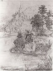 """Otto und Bertha am Donaustrand (Illustration von Carl Philipp Fohr zu Fouqués Roman """"Der Zauberring"""") (Quelle: Wikimedia)"""