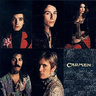 Carmen (band) - Carmen as seen on Fandangos in Space. Clockwise: David Clark Allen, John Glascock, Angela Allen, Paul Fenton, Roberto Amaral