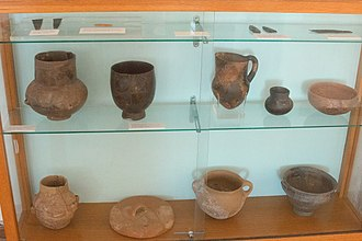 Naxos - Neolithic finds from the Zas cave: jewelry, pottery, tools; archaeological museum of Naxos