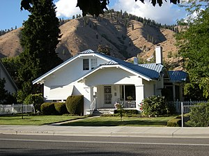 Cashmere, Washington - Cashmere's Cottage Avenue Historic District is also listed in the NRHP. Here, the Cascade foothills can be seen behind a Craftsman home typical of the district.