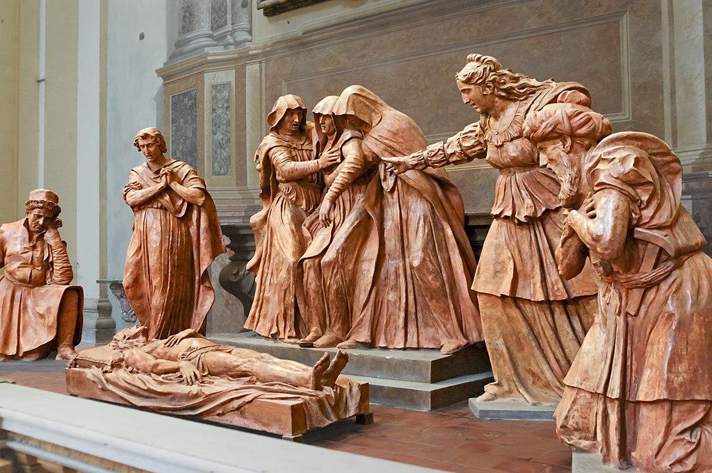 Lamentation pour la mort du Christ par Alfonso Lombardi (env. 1522-1526), sculptures en terre cuite dans la cathédrâle San Pietro - Photo de Didier Descouens.