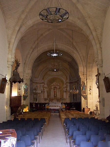 Nave of the church of Caudrot (Gironde, France)