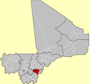 Location of the Cercle of Koutiala in Mali