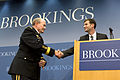Chairman of the Joint Chiefs of Staff U.S. Army Gen. Martin E. Dempsey, left, shakes hands with Peter W. Singer, the director of the Center for 21st Century Security and Intelligence at the Brookings 130627-D-VO565-002.jpg