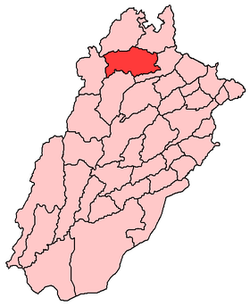Le district de Chakwal (en rouge) au sein du Pendjab.