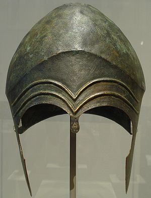 Chalcidian helmet - A Chaldician helmet made of bronze; second half of the 6th century BC.