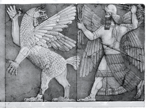 Enlil - Ninurta with his thunderbolts pursues Anzû, who has stolen the Tablet of Destinies from Enlil's sanctuary (Austen Henry Layard Monuments of Nineveh, 2nd Series, 1853)