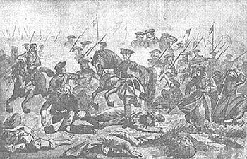 Karl XII. mitten in der Schlacht bei Golowtschin