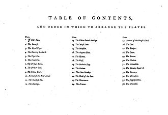 Animals Drawn from Nature and Engraved in Aqua-tinta - Table of Contents for Catton's book