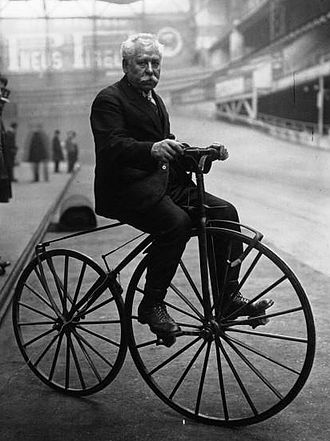 Charles Terront - Charles Terront in 1922 riding an 1870s Michaudine velocipede at a velodrome.