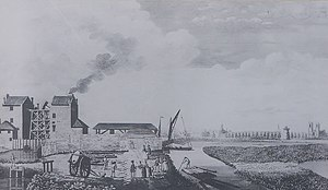 London water supply infrastructure - Chelsea Waterworks, 1752. Two Newcomen beam engines pumped Thames water from a canal to reservoirs at Green Park and Hyde Park.