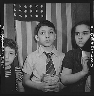 Marjory Collins - Image: Children waiting in line to buy defense stamps at public school 8d 24230v
