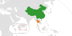 Map indicating locations of China and Thailand