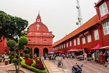 Christ Church Malacca. Christ Church is an 18th-century Anglican church in the city of Malacca, Malaysia. It is the oldest functioning Protestant church in Malaysia and is within the jurisdiction of the Lower Central Archdeaconry of the Anglican Diocese of West Malaysia
