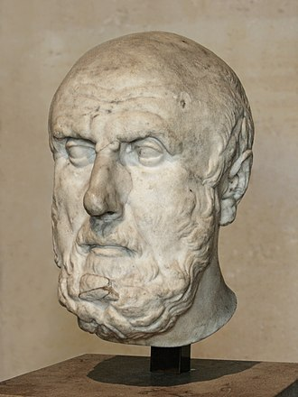 Chrysippus - A partial marble bust of Chrysippus that is a Roman copy of a Hellenistic original (Louvre Museum).