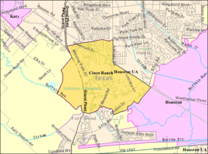 Cinco Ranch, Texas - Map of the Cinco Ranch CDP