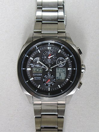 Chronograph - Citizen Atessa Eco-Drive ATV53-3023 analog-digital chronograph with 4 area Radio Controlled reception (North America, Europe, China, Japan).