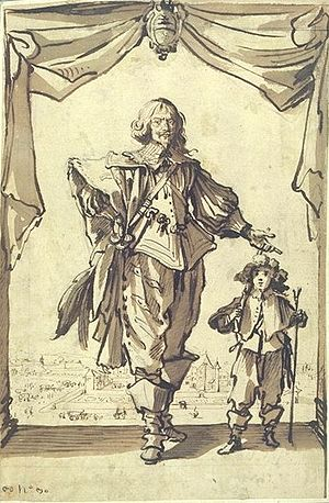 Claude Deruet - Portrait of Claude Deruet accompanied by his son Henri-Nicolas, by Jacques Callot (Nancy 1592-1635).