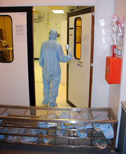 Entrance to a cleanroom with no air shower Cleanroom entrance.jpg