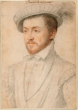 François de Montmorency - Portrait drawing of Montmorency, school of François Clouet