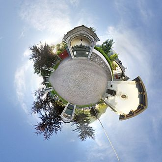 Stereographic projection - Stereographic projection of the spherical panorama of the Last Supper sculpture by Michele Vedani in Esino Lario, Lombardy, Italy during Wikimania 2016