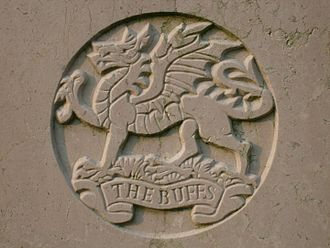 Buffs (Royal East Kent Regiment) - Badge of the Buffs as shown on the grave of Private P.M. Godden, who died in 1947, at Stanley Military Cemetery, Hong Kong