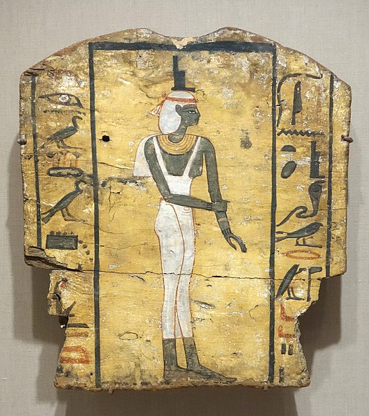 Archivo:Coffin Fragment Showing Mourning Isis - Egypt, Late Period, Dynasties 26-31, c. 664-332 BC, painted wood - Brooklyn Museum - Brooklyn, NY - DSC08778.JPG