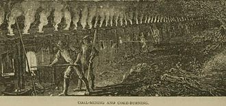 Coke (fuel) - Illustration of coal mining and coke burning from 1879.
