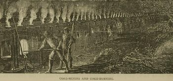 Coal mining and coke burning in historical depictions