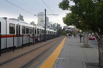 Colfax at Auraria station - The Colfax at Auraria light rail stop in Denver, Colorado. The street on the right is West Colfax Avenue