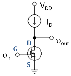 Common source - Figure 3: Basic N-channel MOSFET common-source amplifier with active load ID.