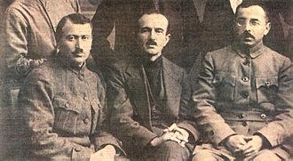 Communist Party of Turkey (historical) - Communist Party of Turkey founder Mustafa Suphi (right), general secretary Ethem Nejat (middle) and İsmail Hakkı (left)