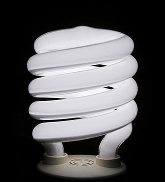 Efficient energy use - A spiral-type integrated compact fluorescent lamp, which has been in popular use among North American consumers since its introduction in the mid-1990s.