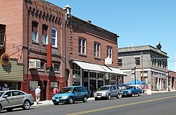 Photo of three historic commercial buildings.