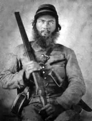 Combat shotgun - Confederate cavalryman with muzzle-loading shotgun