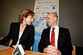 Connie Hedegaard klimat- och energiminister Danmark och Fredrik Reinfeldt statsminister Sverige haller pressmote pa Nordic Climate solutions i Kopenhamn 2008-11-25.jpg