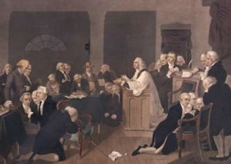 Chaplain of the United States House of Representatives - The Rev. Jacob Duché leading the first prayer for the Second Continental Congress, Philadelphia, September 7, 1774