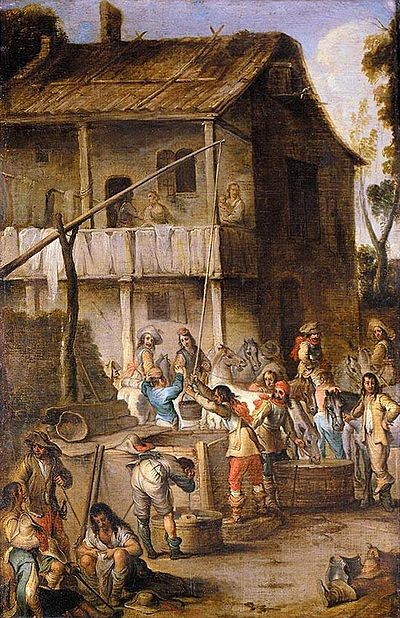 Cornelis de Wael - Soldiers before a Tavern - WGA25414