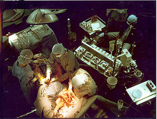 A Heart-Lung Machine (upper right) in a Coronary Artery Bypass surgery (CABG)