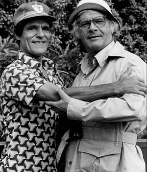 Captain Kangaroo - Puppeteer Cosmo Allegretti (left) with actor Dick Shawn, 1977: Allegretti played many roles on the program.