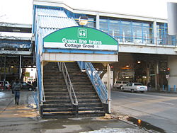 The Cottage Grove station, the terminal of the East 63rd branch of the Green Line.