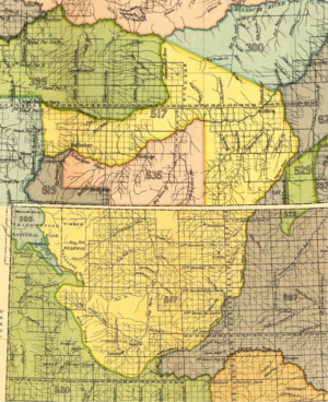 Treaty of Fort Laramie (1851) - Crow Indian territory (area 517, 619 and 635) as described in Fort Laramie treaty (1851), present Montana and Wyoming. It included the western Powder River area and the Yellowstone area with tributaries as Tongue River, Rosebud River and Bighorn River.